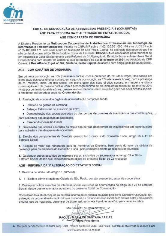 EDITAL DE CONVOCAÇÃO DE ASSEMBLEIAS